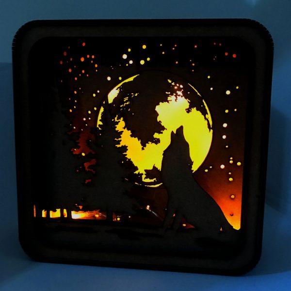 Caja de luz «Lobo Luna»