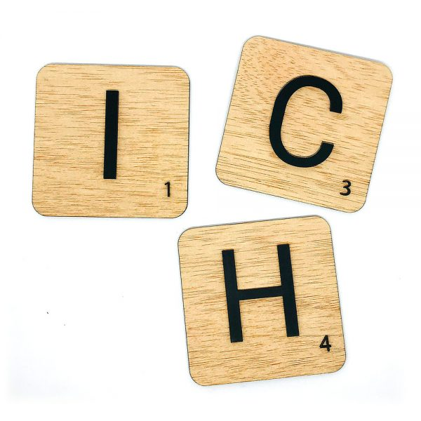 Scrabble letras relieve negro